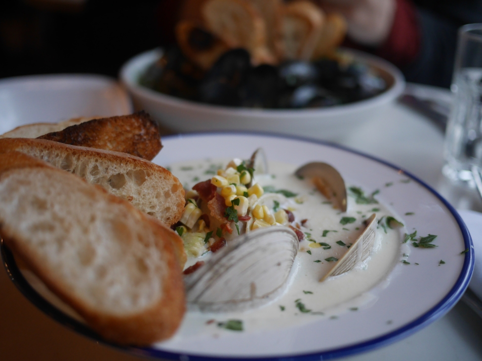 Lovely Clam chowder to warm up the tummy on a cold gloomy day. - Ahn Bustamante